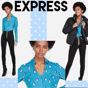 EXPRESS,🐧NEW Blue Button Down Penguins Pint Top